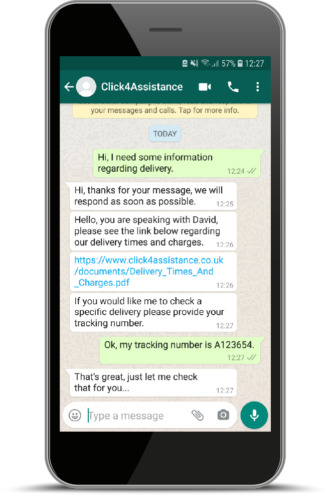 Chat to users over WhatsApp.