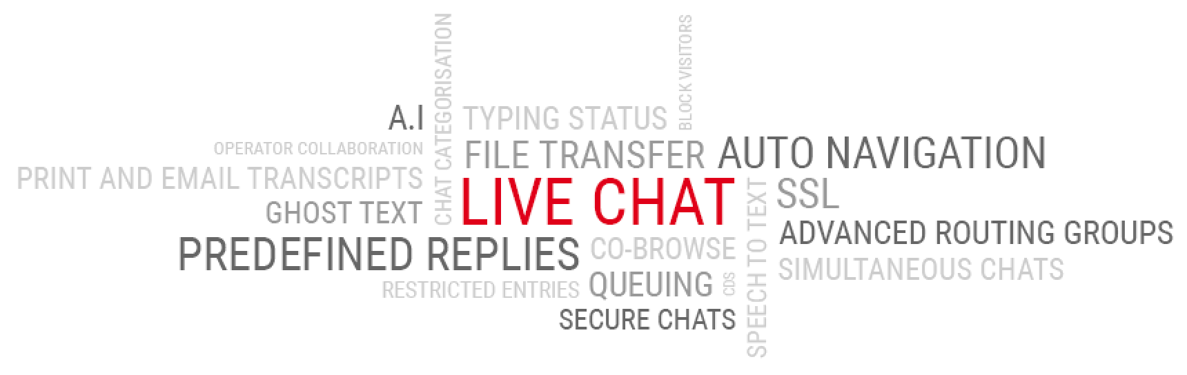 Word cloud of live chat features.