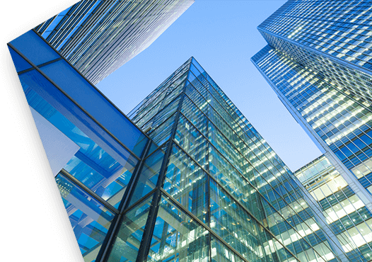 Photo of glass insurance buildings.